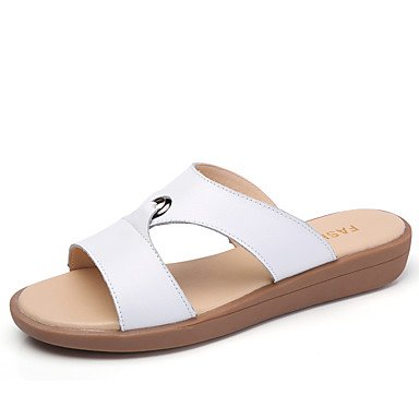 LvYuan Mujer Sandalias Confort Cuero Verano Otoño Vestido Confort Tacón Plano Blanco Amarillo Fucsia 2'5 - 4'5 cms fuchsia