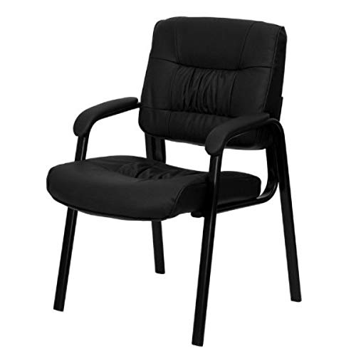 Contemporary Design Commercial Grade Guest Chair Durable LeatherSoft Upholstery Solid Steel Frame Padded Armrest Thick Waterfall Edge Seats Home Office Furniture - (1) Black Leather/Black Frame #2038