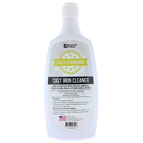 Cast Iron Cleaner, (20oz) Safe for Use On All Cast Iron Surfaces, Penetrates Grime from Cast Iron Kitchen Sinks, Grill Gates, Pots and Pans (Comparable Kohler K-1012525) by Essential Values ()