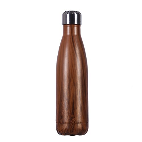 500ml Water Bottle, Liveup SPORTS 17oz Double Wall Vacuum Insulated Stainless Steel Water Bottle Cup with Black Portable Bag Perfect for Outdoor Sports Camping Hiking Cycling Picnic (Dark Wood)