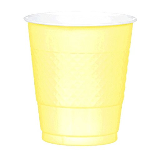 Light Yellow Plastic Cups   12 oz.   Pack of 20   Party Supply