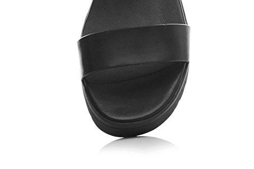 AmoonyFashion Womens Open Toe Buckle Cow Leather Solid Kitten-Heels Sandals Black cxnIrj