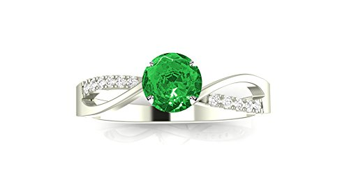Elegant Twisting Split Shank Diamond Engagement Ring with a 0.75 Carat Emerald Heirloom Quality Center