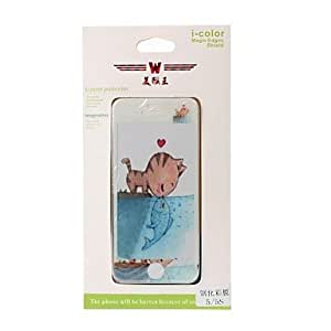 TY Cat and Fish Pattern Color Shining Screen Protective Film Stick By Yourself for iPhone 5/5S