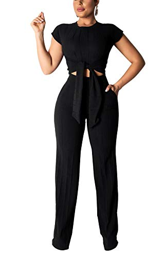ThusFar Women's Short Sleeve Ribbed Tie Up Crop Top Pockets Loose Long Pants Set 2 Piece Outfits Jumpsuits Black - Cotton Ribbed Tie