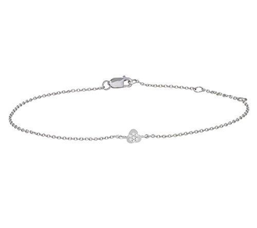 Or Blanc 9 ct Bracelet Diamant en forme de petite fleur, 0.01 Ct Diamant, GH-SI, 1.52 grammes.