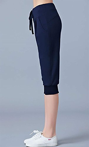 Femmes Élégant Spécial À Jogging De Classique Lacets Printemps Taille Loisirs Haute Couleur Automne Pantalon Unie Vintage Dunkelblau Mode wqSrw
