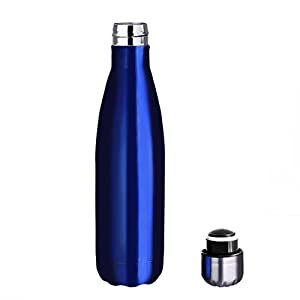 Homeditor Insulation Stainless Steel Water bottle 17oz Double Wall Vacuum Travel Mug for Camping Hiking Cycling Outdoor Sports Festival and Anniversary Gift (Dark Blue)