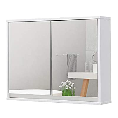 "Tangkula Wide Medicine Organizer Bathroom Cabinet Double Mirror Door Wall Mount Storage White, 22"" Wood Shelf - Mounting Type: Surface Mount The Package Length of the Product is 27.0 inches The Package Width of the Product is 14.0 inches - shelves-cabinets, bathroom-fixtures-hardware, bathroom - 31rJaHkyIyL. SS400  -"