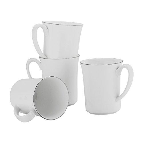 (10 Strawberry Street Bone China Silver Band 16 Oz Flared Mug, Set of 4, White/Silver)