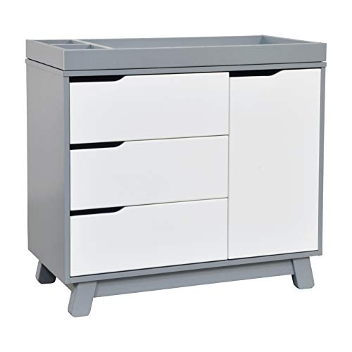 Babyletto Hudson 3-Drawer Changer Dresser with Removable Changing Tray, Grey / White (Dresser Drawers Small 3)