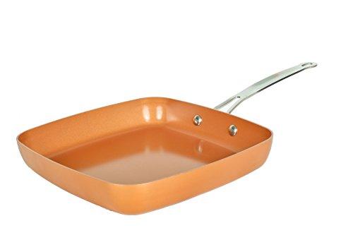 MasterPan Copper tone 9.5-inch Ceramic Non-stick Square fry pan (9-5 Inch Non Stick Copper Ware Pan)