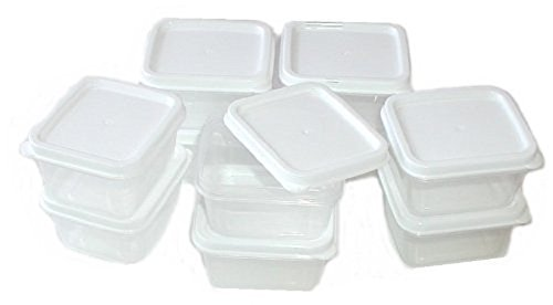 (10) SMALL CLEAR SQUARE CONTAINERS W/WHITE LIDS STACKABLE FOR DRY INGREDIENTS - SALAD DRESSING - PILL BOX - OR LOOSE CANDIES AND CHOCOLATE 3.oz-85ml