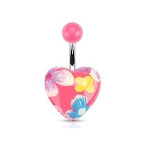 """Coolbodyart Unisex Bauchnabelpiercing """"Pink Flora Herz"""" Flower Power [Bijoux]"""