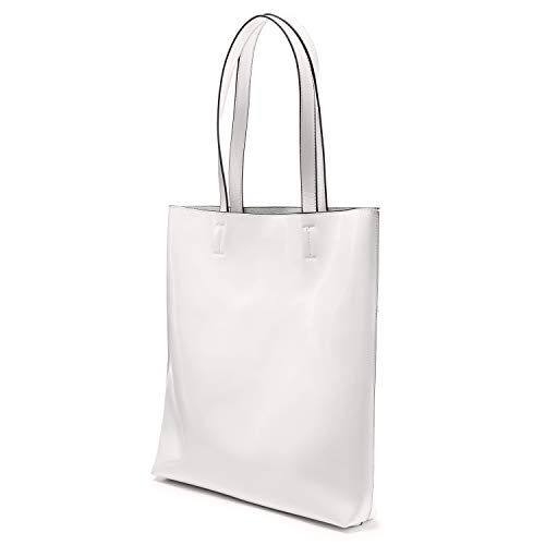 Crinkle Leather Tote - LOVEVOOK Tote Bag Patent Handbags for Women Travel Bag Softer, Scratch and Water Resistant White