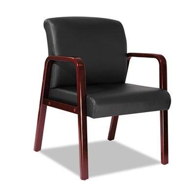 Alera RL4319C Reception Lounge Series Guest Chair, Cherry/Black Leather