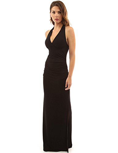 PattyBoutik Women's Halter Empire Waist Ruched Side Slit Maxi Dress (Black M)