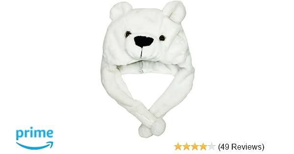 furry  POLAR BEAR HAT plush ADULT cap animal NEW Costume US SELLER plunge bears