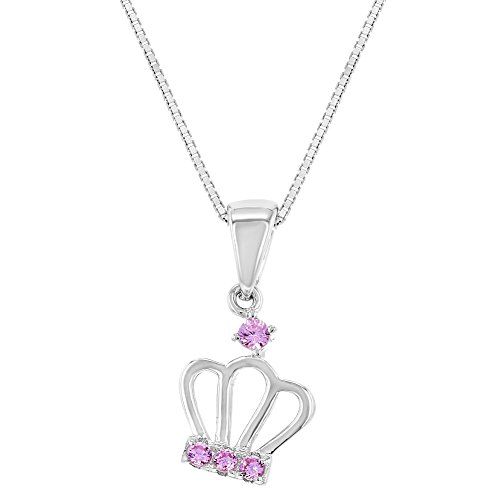 925 Sterling Silver Pink CZ Queen Princess Crown Pendant Girls Kids Necklace 16
