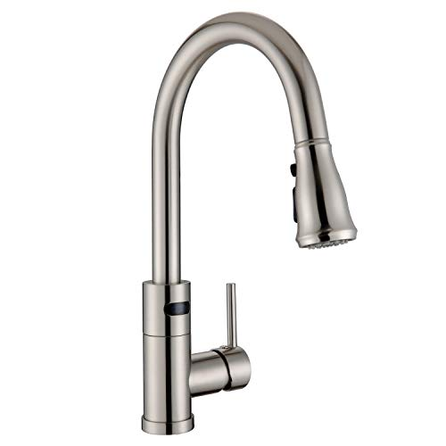 WILLSLAND Touchless Kitchen Faucet with 3-mode Pulldown Sprayer, Brushed Nickel Swivel Motion Sensor Kitchen Sink Faucet Automatic Kitchen Faucet with Sensor Brass Body Easy Installation