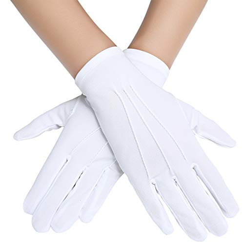 BABEYOND Short Satin Gloves Opera Wedding Gloves Special Occasion Gloves Wrist Length Gloves for Party Costume (White)