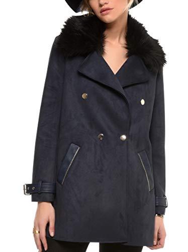 Poil Femme 38 4 Bleu Taille Synthetique Manteau 3 Arturo Polyester Couleur Col Foncé WUXZPc