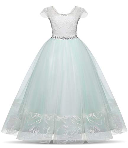 Price comparison product image NNJXD Girl Princess Brick Stone Pageant Long Dress Kids Tulle Prom Ball Gowns Size(170) 13-14 Years Green