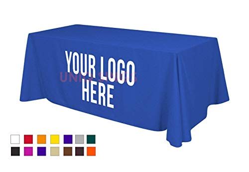 UNIQ SIGNS Personalized Add Your Own Logo Custom Tablecloth 6' Table Cover - Table Throw (8, Blue)