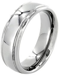 Odyssey Rings 6mm Polished White Tungsten Wedding Ring for Women & Men, Double Grooved Retail Quality Comfort (Female Insignia Ring)