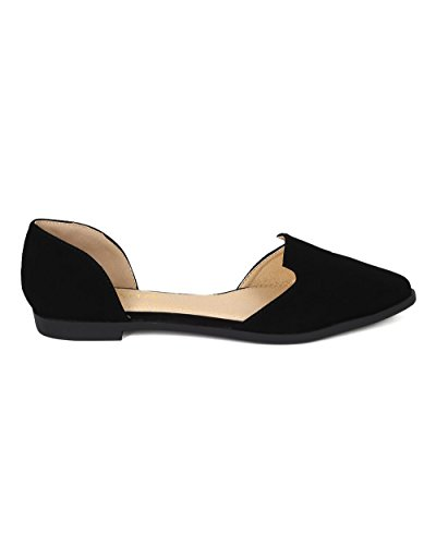 Liliana CD78 Women Nubuck Pointy Toe Slip on Venetian Loafer Flat Black Nubuck vfu9MrCwb