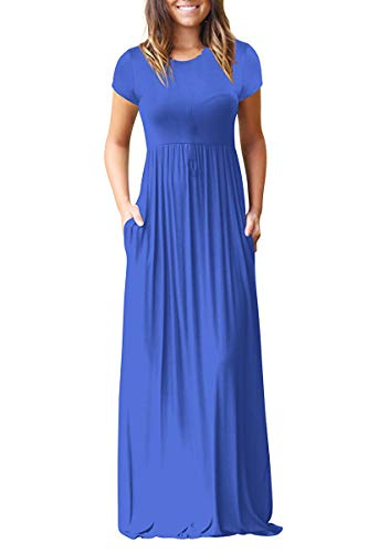 Loose Blue with Plain Royal Maxi HAOMEILI Women's Pockets Dresses Sleeve Long Long Casual qxZ7twp