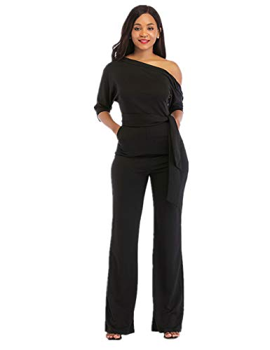 One Shoulder Jumpsuits for Women Elegant Night Sexy Casual Summer Rompers Shorts Wide Leg Long Pants Plus Size Belt Pockets Black XXL