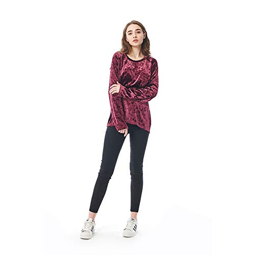 (Mesospero· Women's Vintage Velvet T-Shirt Casual Long Sleeve Top (Sassafras, M))