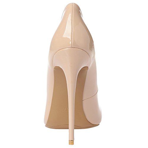 Sexy Zabsolute Heels High Luxury Stilettos ZAPROMA Pumps Point Comfortable Leather Beige Shoes Toe Patent Women's YXT5nqn0