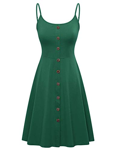 VETIOR Summer Skater Dress for Women, Spaghetti Strap Button Down A Line Dress Dark Green (Plus Size Dress Women Skater)