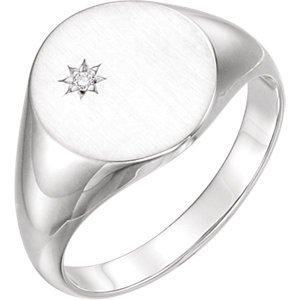 Men's Diamond Signet Ring, Rhodium-Plated 14k White Gold (.02 Ct, G-H Color, I1 Clarity) Size 11.75 by The Men's Jewelry Store (Image #2)