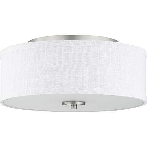 Progress Lighting P350130-009 Inspire Collection Two-Light Flush Mount, Brushed Nickel