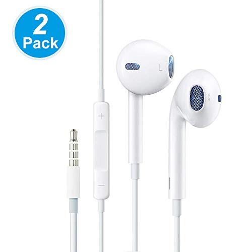 RIJAHO in-Ear Headphones, 2 Pack HiFi Wired Earbuds 3.5mm Earphones with Mic & Volume Control Compatible with All 3.5 mm Interface Deavices Empowers Full Immersion into The Sound