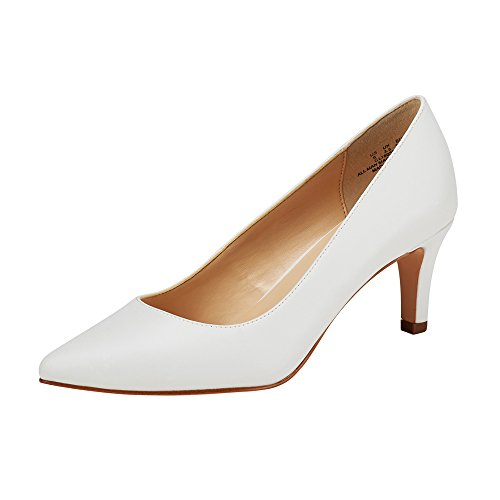 JENN ARDOR Women's High Heels Ladies Pointed Toe Slip On Mid Heel Dress Party Pumps White 7 (9.4in) (Leather Mid Heel Pumps)