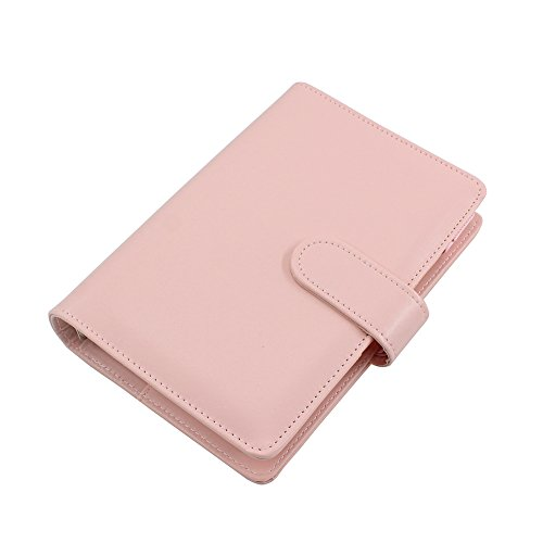 Pink Pen Filofax (Gunsamg A6 PU Leather Spiral Wirebound Notebook Daily Weekly Monthly Agenda Calendar Writing Books Filofax Planner Organizer with Pen Loop,Inner Pocket)