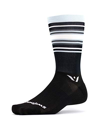 Swiftwick- Aspire Seven | Socks Built for Cycling, All Day Support | Firm Compression, Fast Dry, Responsive Feel, Tall Crew| Stripe Black/Silver/Gray, Medium