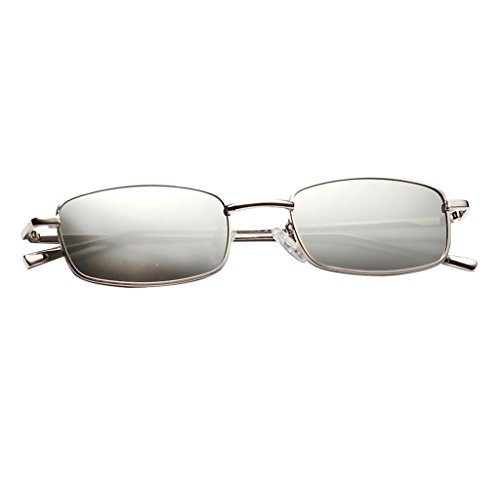 Unisexe de Rétro Mode Vintage Sharplace Cadre Blanc Soleil Rectangle Lunettes Classique Rétro z566q1w