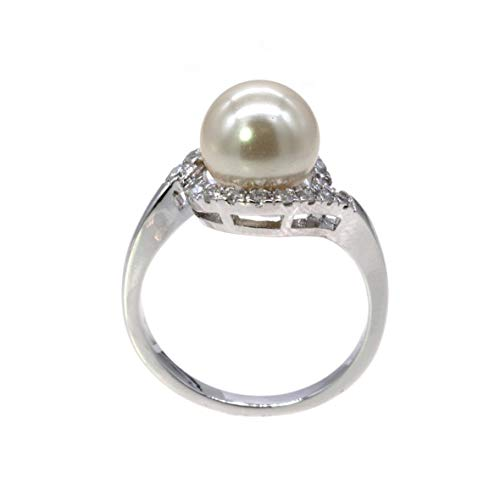 8 mm Pearl Ring Ivory AAA CZ Micro Pave Size 5 - 10 Wedding Jewelry (Silver, 10)