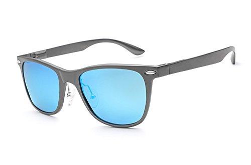 arroz MXNET de Gray Gafas clásicas UV Vintage de uñas de polarizadas Sol blue Gafas Protección Sol de Unisex 17qSR