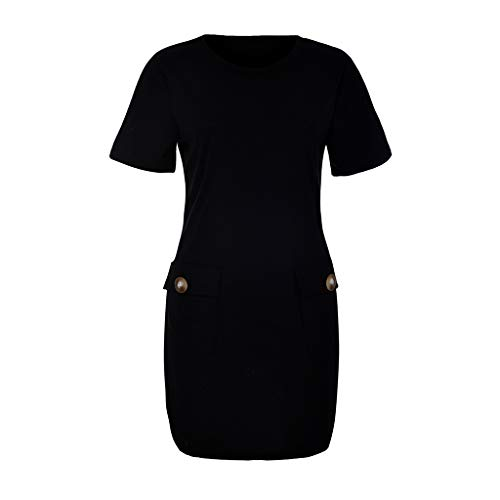 OldSch001 Womens Casual Short Sleeve Pleated Solid Button Casual Round Swing Neck Front Dress with Pockets