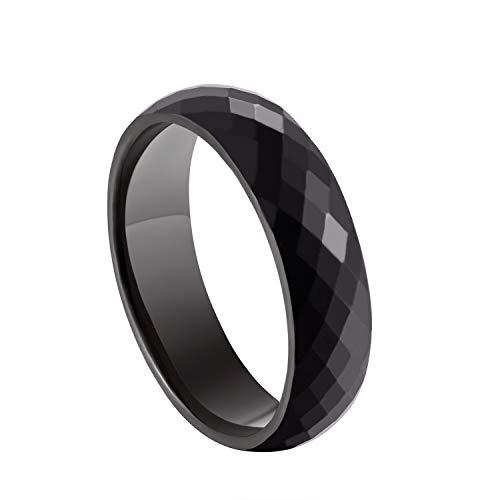 - Milo Bruno - 6MM Honeycomb Faceted Diamond Cut Tungsten Ring (Black) - 8