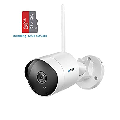 Outdoor Security Camera - HD 1080P Bullet Camera 2.4G Wireless IP66 Waterproof 50ft Night Vision Home Surveillance IP Camera Two-Way Audio, Motion Detection Alarm/Recording, Including 32GB SD Card