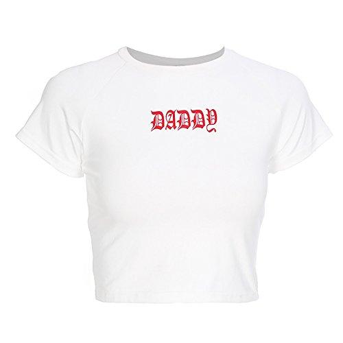 malianna Women Daddy Letter Prited T-Shirt White Slim Waist Crop Tops