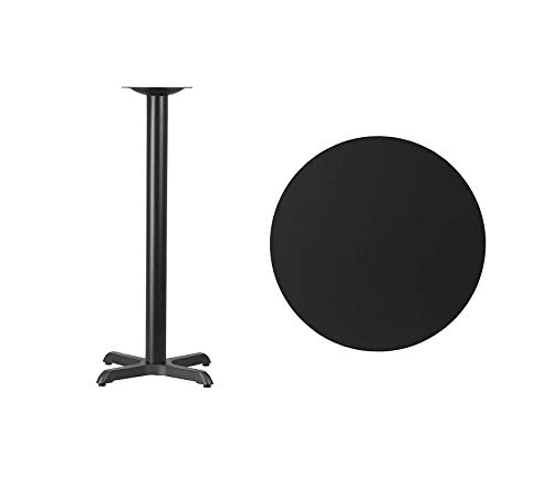 Office Home Furniture Premium 30'' Round Black Laminate Table Top with 22'' x 22'' Bar Height Table Base