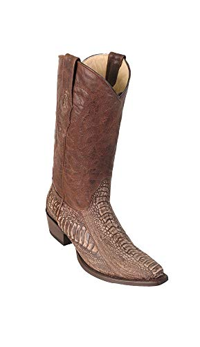Men's Sinp Toe Sanded Brown Genuine Leather Ostrich Leg Skin Western Boots - Exotic Skin Boots